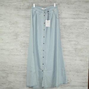 Pistola Chambray Maxi Skirt Sz S Light Blue Baez W